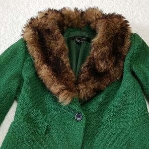 Zara Green Blazer with Faux Fur Neckline